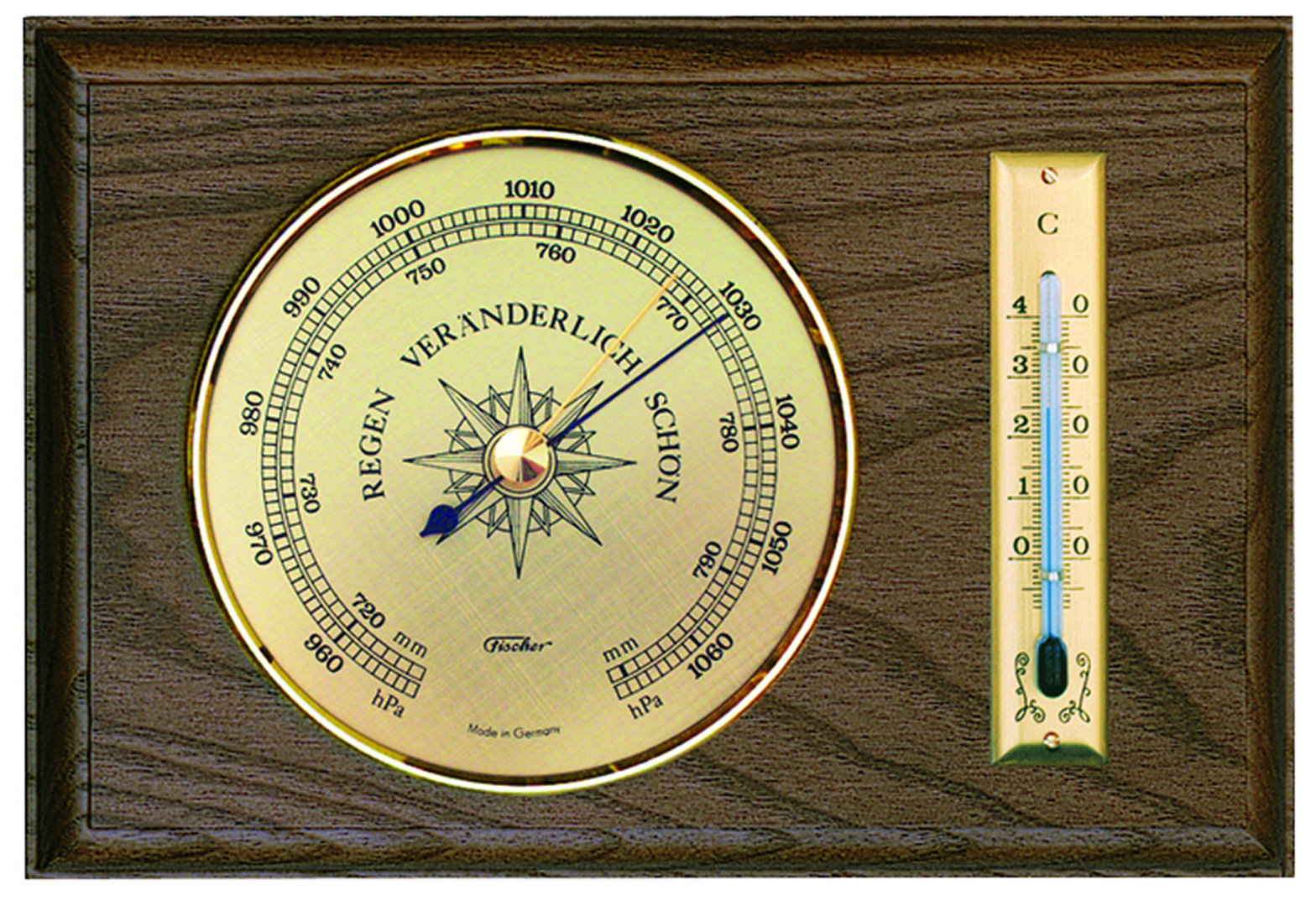 Traditionelles Barometer mit Thermometer im Holzgehäuse, Eiche hell